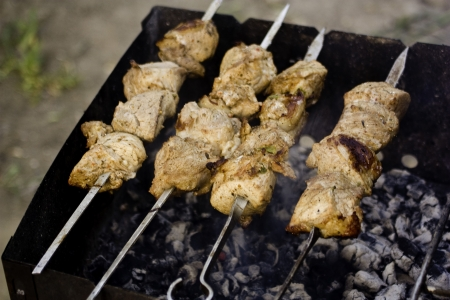 kebab meat cooked on charcoal grill photo