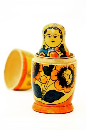 Matryoshka Russian national traditional doll Stock Photo