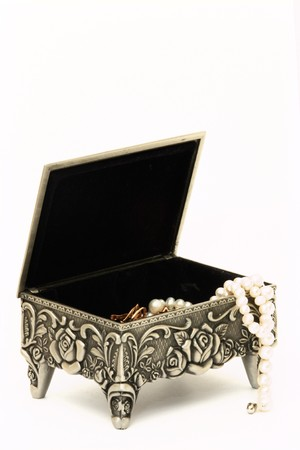 The box on a white background with pearls photo