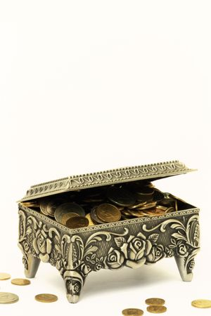 silver coins in the chest with half-turn