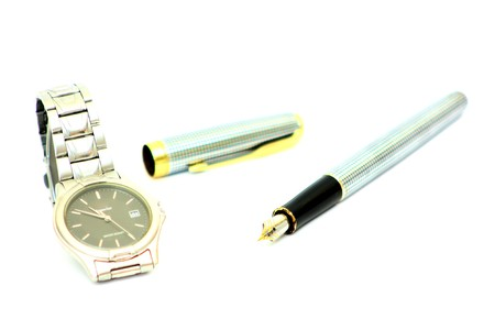Wristwatches Steel and pen Stock Photo - 7661091
