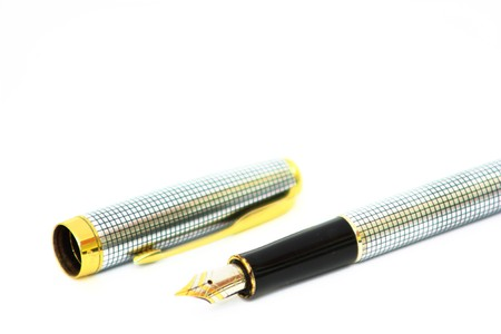 A steel pen with gold Stock Photo - 7661095