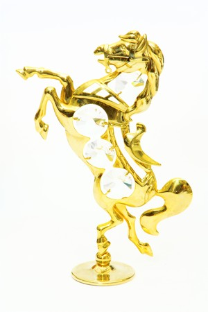 Jewellery figurine horse crystals gold photo