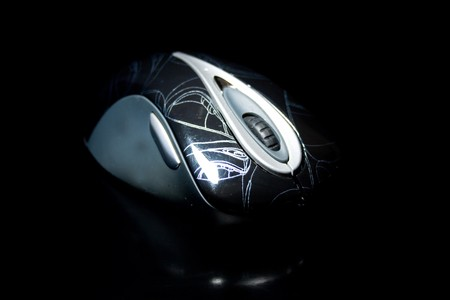 computer mouse on a black background Stock Photo