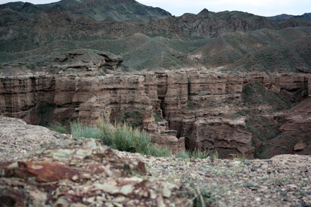 two sides of the canyon Charyn in Kazakhstan photo