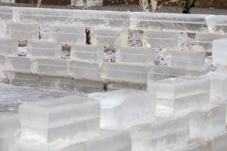 ice blocks: Great Wall built of ice blocks Stock Photo