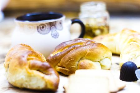 Romantic tropical breakfast Danish pastry, coffee, juice. Summer background.