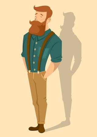 suspenders: Redhead man. Vector illustration