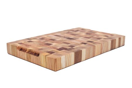 Wooden cutting board isolated on white background.