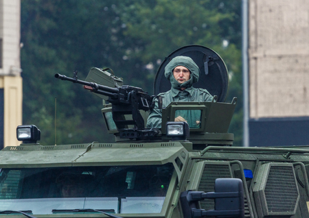 KYIV, UKRAINE - AUGUST 24, 2016: Military parade in Kyiv, dedicated to the Independence Day of Ukraine. Ukraine celebrates 25th anniversary of Independence Editorial