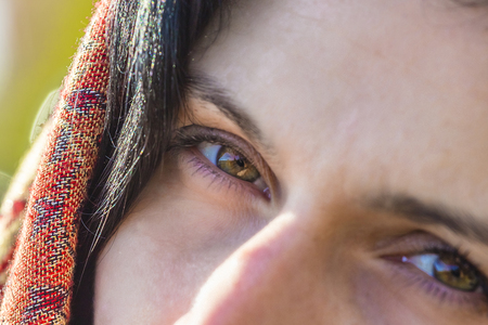 Close-up of Beautiful brown eyes  young girl Stock Photo