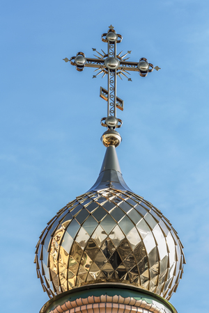 Golden domes and crosses of the Orthodox Church. Stock Photo