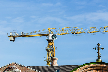 building of the Christian church with crane Stock Photo
