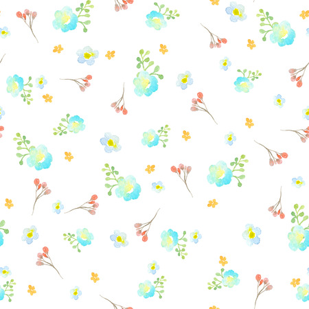 Seamless pattern with blue, turquoise and orange flowers, a twig with red flowers and a green abstract branch on a white background. Painted with watercolors. Can be used for the design of perfume packaging, gift wrapping, cosmetics, for textiles, wedding cards