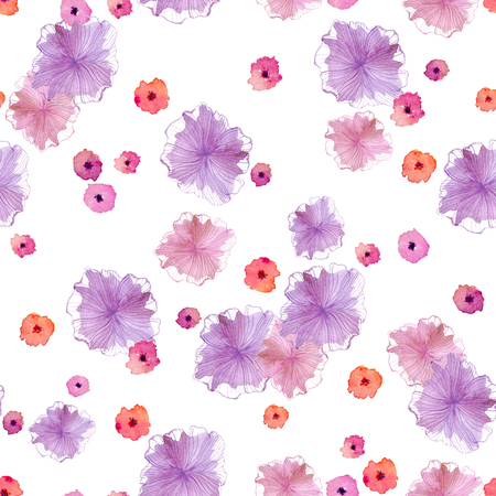 Seamless pattern with abstract pink, purple and purple flowers on a white background. It is done with the help of watercolor. Can be used for the design of perfume packaging, gift wrapping, cosmetics, for textiles, wedding cards
