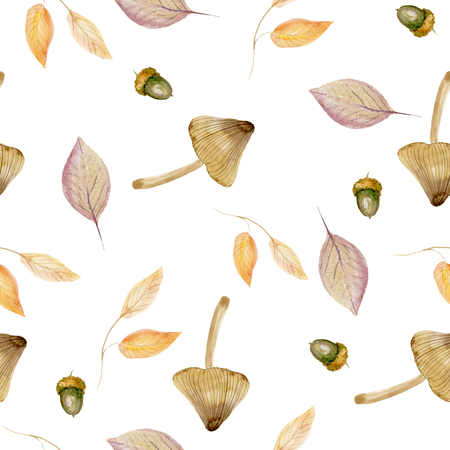Seamless pattern with mushroom, acorns and autumn leaves in Orange, Beige, Brown, Burgundy and Yellow colors. Perfect for gift paper, pattern fills, web page background, autumn greeting cards. Nature illustration for design