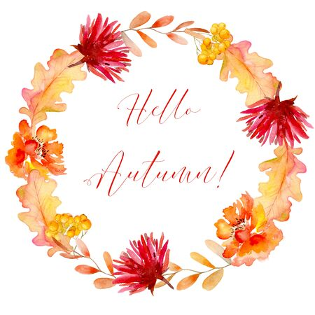 Autumn watercolor elements, dry leaves, red and orange flowers, rowan berries, make up a round frame. Bright elements, yellow, red, orange. Suitable for labels, cards, Imagens