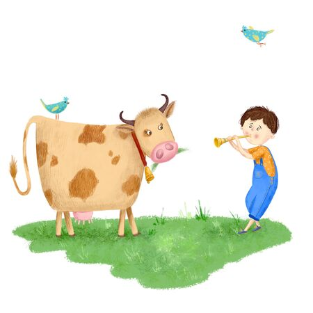 Original illustration of a cute boy with a flute grazes a cow on a green meadow, grass