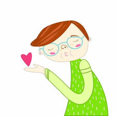 Sweet flat illustration with boy with glasses sends an air kiss, red heart . Cute vector illustration for Valentine's day. Loving boy. Sorry card Illustration