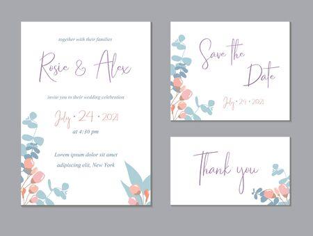 Trendy floral thank you, rsvp modern card. Wedding Invitation, modern card Design.