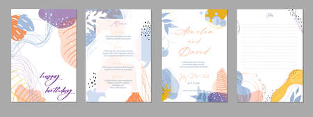 Set of abstract creative universal artistic templates. Good for poster, card, invitation, flyer, cover, banner, placard, brochure and other graphic design. Vector illustration