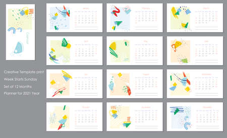 2021 trendy calendar design. Editable calender page template.Abstract artistic vector illustration.Cute printable creative template with geometric elements