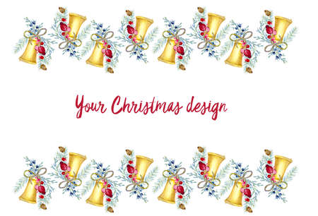 Christmas and New Year border with watercolor painted elements. Holiday decorative frame for greeting card, invitations, menu and other design.