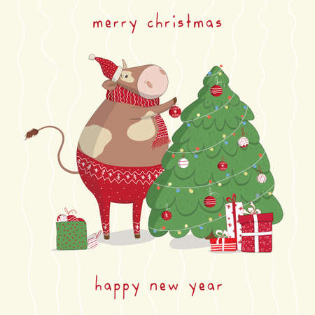 Cute vector bull decorate the Christmas tree with toys. New Year's and Christmas greeting cards. Banner, poster, stickers, prints and home interior decor.Templates for the holiday.Social media post.Xmas