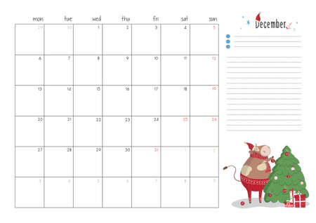 Printable A4 planner page for October 2021 with a cute bull, cow or ox, the symbol of the new year 2021 according to the Chinese calendar. Week starts on monday