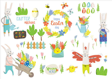 Set Easter cartoon characters and design elements. Easter bunny, chickens, eggs, easter tree, tulips, mimosa. Vector illustration. Perfect for holiday decoration and spring greeting cards, poster