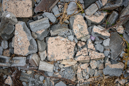 demolish: Broken bricks on ground and classic tone
