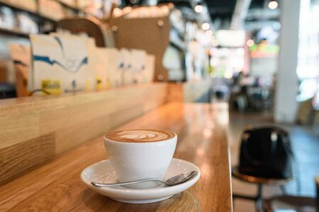 coffeeshop: Coffee cup at coffeeshop nature tone, Thailand Stock Photo