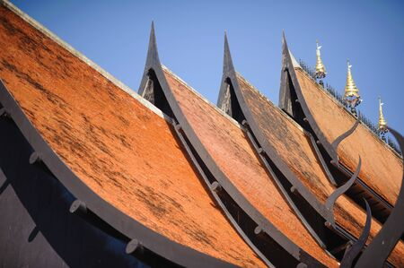 gable: roof style of thai temple with gable apex on the top Stock Photo