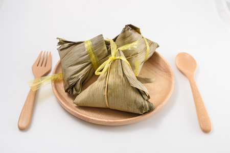 chinese food: Zongzi - Chinese food style on white background Stock Photo