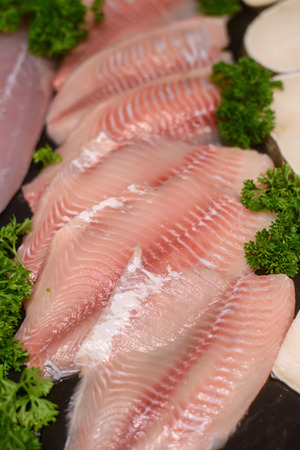 tilapiini: Fish fillet in market from bangkok, Thailand Stock Photo
