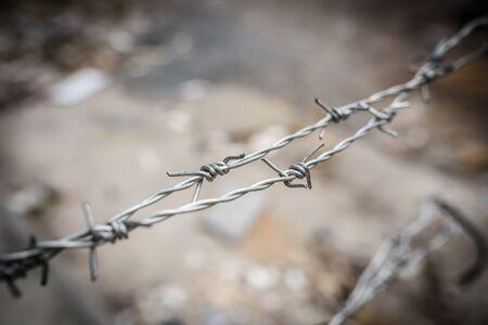 barbed wire fence: barbed wire fence in forbidden area, bangkok