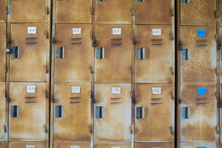 lockers: Rusted old cabinet lockers