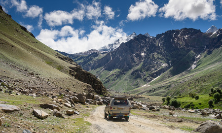 way to go: KASHMIR, INDIA - July 14 : Car tourist on the way go to snow moutain on July 14,2015 in KASHMIR, INDIA