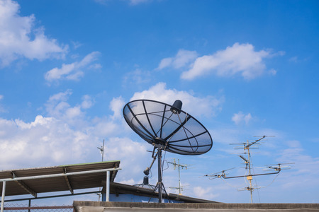 satellite dish: satellite dish and could blue sky,nature
