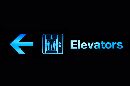 lift gate: Elevator and sign icons in airport