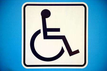 handicapped: Blue rectangle handicapped sign with wheelchair, isolated on white, Stock Photo