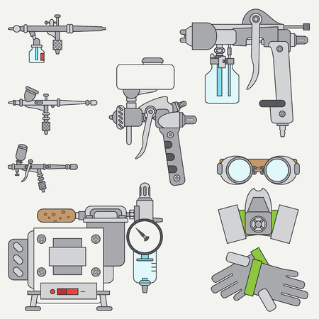 airbrush: Line flat color vector icons set of drawing instruments for aerography. Cartoon style. Drawing. Airbrush. Art. Illustration and element for design. Collection. Industrial. Air compressor. Logo. Illustration
