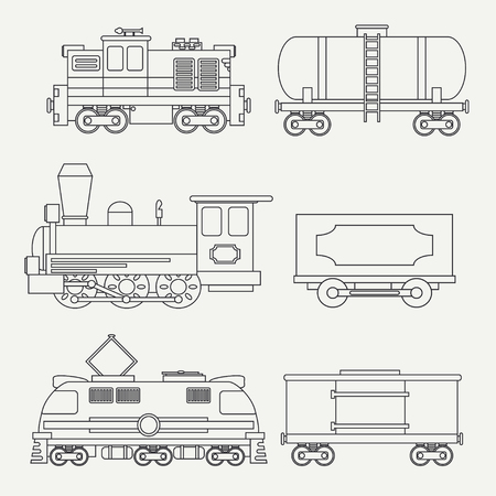 diesel locomotives: Trendy line modern and vintage trains with cargo wagons and tank icons set. Steam, diesel, electric locomotives. Vector illustration. Design elements railway collection.
