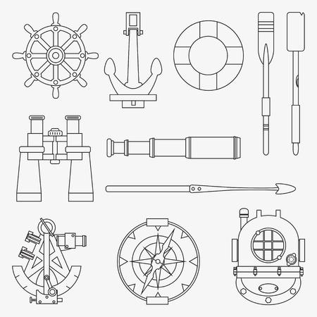 harpoon: Line marine icons set. Nautical design elements: anchor, wheel, lifebuoy, compass, harpoon, paddle, diving helmet, sextant, binoculars, telescope. Sea vector illustration collection.