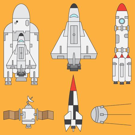 exploration: Line flat color icon set elements of aerospace program - rocket, satellites, space shuttle. Cartoon style. Astronautics. Illustration and element for design. Collection. Space. Galaxy. Logo.