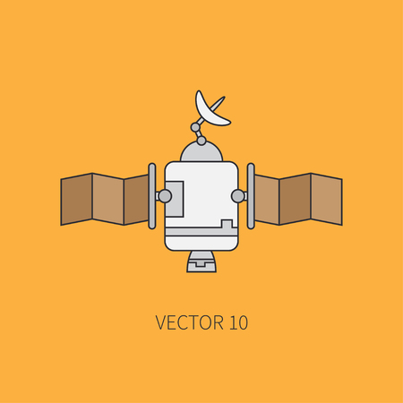 space program: Line flat color icon elements of aerospace program - communication satellite. Cartoon style. Astronautics. Illustration and element for design. Space investigations. Clipart. Technology. Illustration