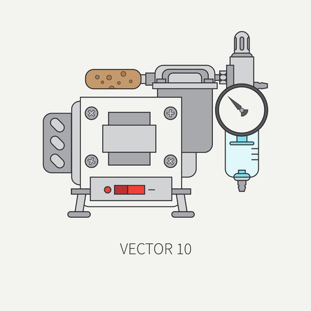 Line flat color icon of drawing instruments for aerography - air compressor. Cartoon style. Drawing. Airbrush. Art. Illustration and element for design. Clipart. Industrial. Spray.