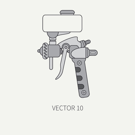 Line flat color icon of drawing instruments for aerography. Cartoon style. Drawing. Airbrush. Art. Illustration and element for design. Clipart. Air compressor. Industrial. Pulverizer.