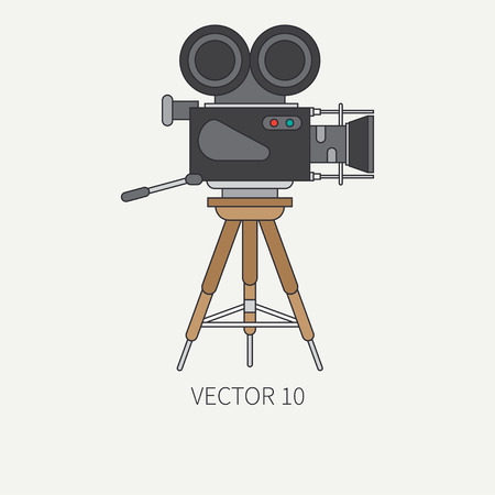 screenplay: Line flat color icon elements of filmmaking and multimedia - 35mm film camera. Cartoon style. Cinema. illustration and element for your design , wallpaper. Collection. Screenplay. Video. Illustration