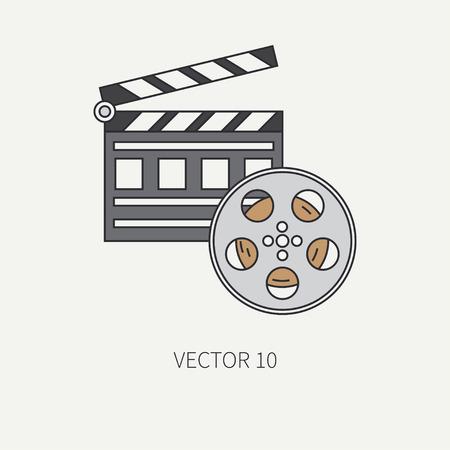 flapper: Línea elementos de color plano icono del cine - bobina de película de 35 mm, claqueta. estilo de dibujos animados. Cine. ilustración y elemento para su diseño, papel pintado. Colección. Equipo de vídeo.